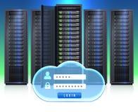 Server Racks Realistic Login Icon. Computer server black adjustable framework racks with cloud shaped secure login symbol icon realistic vector illustration Stock Image