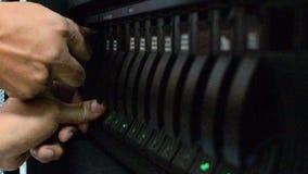 Server and raid storage, Installing hard disk storage stock footage