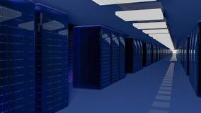 Server-Raum-Rechenzentrum 3d übertragen lizenzfreie stockbilder