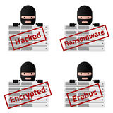 Server Red stamp messages Hacked, Ransomware, Encrypted, Erebus. Royalty Free Stock Images