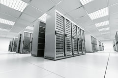 Server room. 3d rendering of a server room with white servers Stock Images