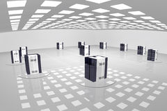 Server room. A rendered sterile looking room with computer-like objects forming kind of a network Stock Photo