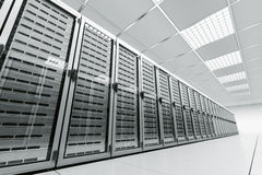 Server room. 3d rendering of a server room with white servers Stock Photography