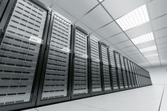 Server room. 3d rendering of a server room with black servers Stock Images