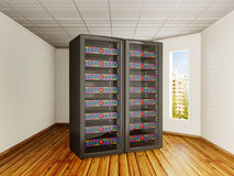 Server room. Two black server towers in a room Royalty Free Stock Image