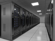 Server room. In datacenter - 3d render Stock Photos