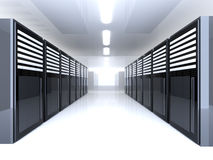 Server Room. 3D Illustration. Mainframes in a Server Room royalty free illustration