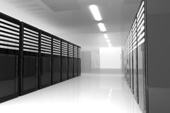 Server Room. 3D Illustration. Server room Interior vector illustration