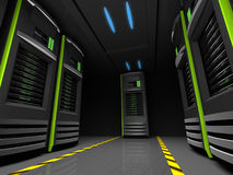 Server room. Couple of servers in a dark room Royalty Free Stock Photos