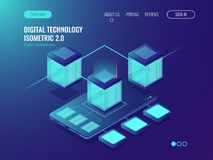 Server room banner, datacenter database connception concept, smartphone mobile phone application development and. Server room banner, datacenter database Royalty Free Stock Photos