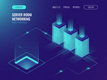 Server room banner, web hosting and processing of big data concept, ultraviolet isometric vector. Illustration Royalty Free Stock Photo