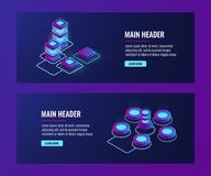 Server room, big computer network, networking, connection, big data storage and processing. Data center isometric vector dark ultra violet neon Stock Photos
