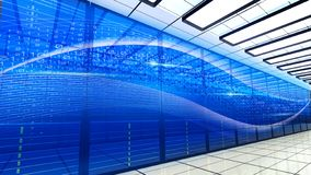 Server room in big data center with binary code design. Modern interior super computer for digital communications and internet in. Security datacenter vector illustration