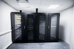 Server room with black metal computer cabinets Stock Image