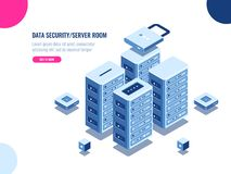 Server room cabinet, data center and database isometric icon, server rack farm, blockchain technology, web hosting, data. Security, cloud storage, personal data vector illustration