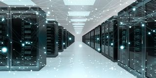 Server room center exchanging cyber datas 3D rendering. Server room center exchanging cyber datas and connections 3D rendering Stock Images