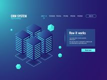 Server room, cloud storage icon, information center, hosting services, datacenter and database. Illustration dark isometric neon vector Royalty Free Stock Photo