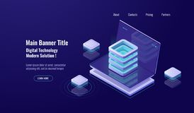 Server room, cloud storage isometric icon, database and datacenter, web hosting, Network or mainframe infrastructure. Website header layoutdark neon vector stock illustration