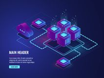 Server room, cloud storage technology, transmission and exchenge data center, dark neon isometric. Vector Stock Images