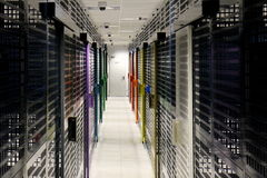 Server room. With colorful security doors Stock Photography