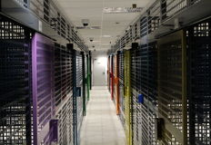 Server room. With colorful security doors Royalty Free Stock Photos