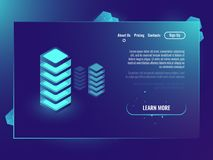 Free Server Room, Concept, Isometric Vector Illustration Of Data Center And Data Exhange, Cloud Storage Neon Dark Gradient Stock Photo - 117918320