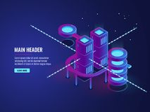 Server room concept, smart city banner, traffic data processing and cloud storage, digital technology. Information flow, database and data center icons dark Stock Images