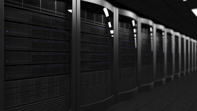 Server room 3D rendering, shallow focus. Cloud technologies, ISP, corporate IT, ecommerce business concepts Royalty Free Stock Images