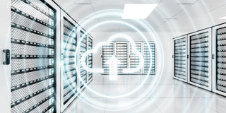 Server room data center with cloud blue icon 3D rendering Royalty Free Stock Images