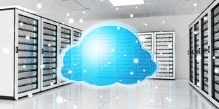 Server room data center with cloud blue icon 3D rendering Royalty Free Stock Photo