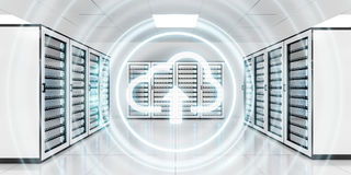 Server room data center with cloud blue icon 3D rendering. Server room data center with cloud blue icon floating inside 3D rendering Royalty Free Stock Images