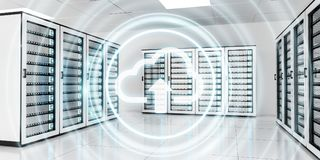 Server room data center with cloud blue icon 3D rendering. Server room data center with cloud blue icon floating inside 3D rendering Stock Image