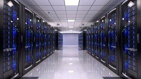 Server Room. In data center - 3d render stock illustration
