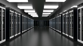 Server room data center. Datacenter hardware cluster. Backup, hosting, mainframe, farm rack with storage information. Server racks in server room cloud data royalty free illustration