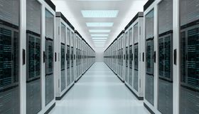 Server room data center interior 3D rendering. Bright server room data center storage interior 3D rendering Stock Image
