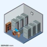 Server room, data center interior vector illustration. Server room, data center interior flat isometric vector illustration royalty free illustration