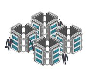 Server room. Data center Isometric style. Internet industry. Dat. A transmission technology and data protection. Storage and Accumulation of Information Stock Images