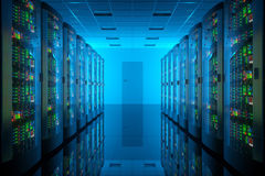 Server room in data center. Royalty Free Stock Image