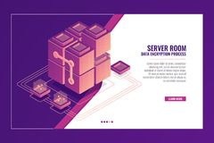 Server room, data transmission, datacenter and database banner, software development concept isometric vector. Server room, data transmission, datacenter and Royalty Free Stock Photo