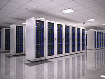Server room. In datacenter -3d render Royalty Free Stock Photos