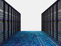 Server room in datacenter. 3d render abstract image Royalty Free Stock Photography