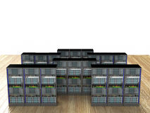 Server room in datacenter. 3d render abstract image Royalty Free Stock Images