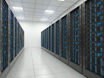 Server room in datacenter. Royalty Free Stock Photos