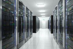 Server room in datacenter. Modern network and telecommunication technology computer concept: server room in datacenter Stock Images