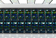 Server room in datacenter, room equipped with data servers. Royalty Free Stock Photo