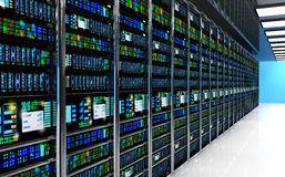Server room in datacenter, room equipped with data servers. Stock Photos