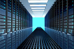Server room in datacenter, room equipped with data servers. Royalty Free Stock Photos