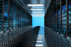 Server room in datacenter, room equipped with data servers. Stock Photo