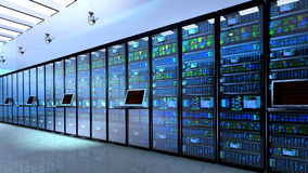 Server room in datacenter, room equipped with data servers. Royalty Free Stock Photography