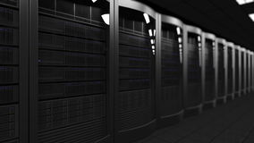 Server room dolly seamless loop 4K animation, shallow focus. Cloud technologies, ISP, corporate IT, ecommerce business stock footage